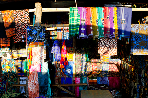 Colorful sarongs at a market in Livingstone, Zambia