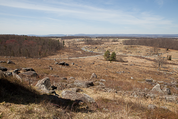 Looking down from Little Round Top at Gettysburg