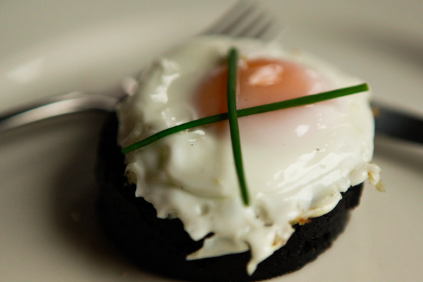 Egg over black pudding at Loch Ness Lodge