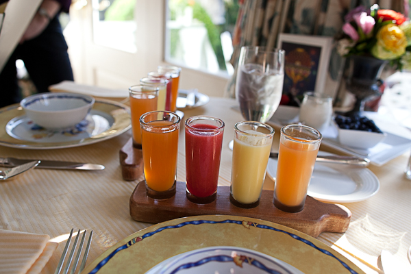 Breakfast juice shots at The Inn at Little Washington