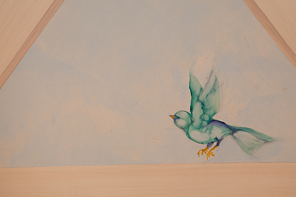 Little birdie painted in ceiling of bathroom at The Inn at Little Washington