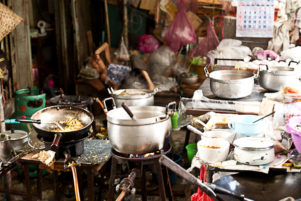Cooking stall in the backstreets of Bangkok